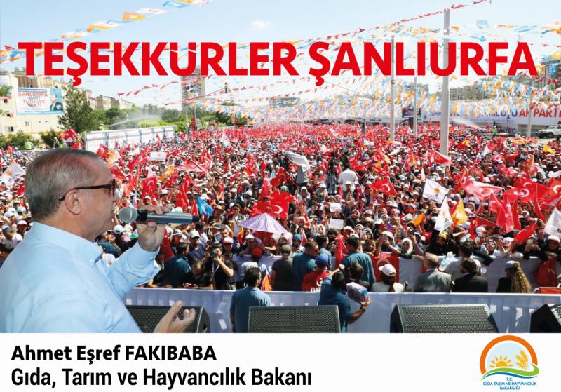 Bakan Fakıbabadan Şanlıurfa Halkına Teşekkür