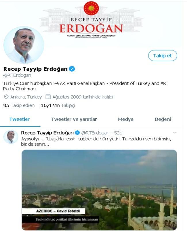 """Cumhurbaşkanı Erdoğan'ın """"Ayasofya"""" paylaşımı ilgi gördü. -videolu haber-"""