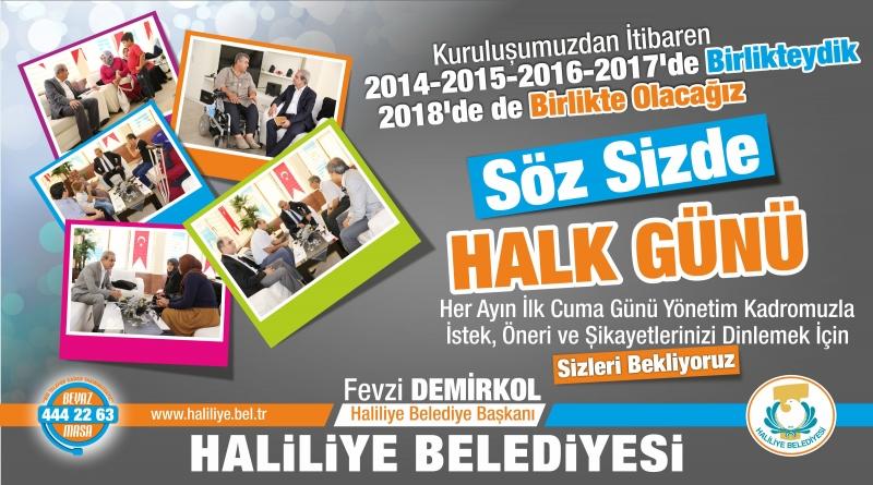Haliliye'de Halk Günü 5 Ekim'de