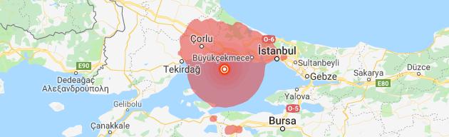 İstanbul Silivri açıklarındaki 5.8 büyüklüğündeki deprem