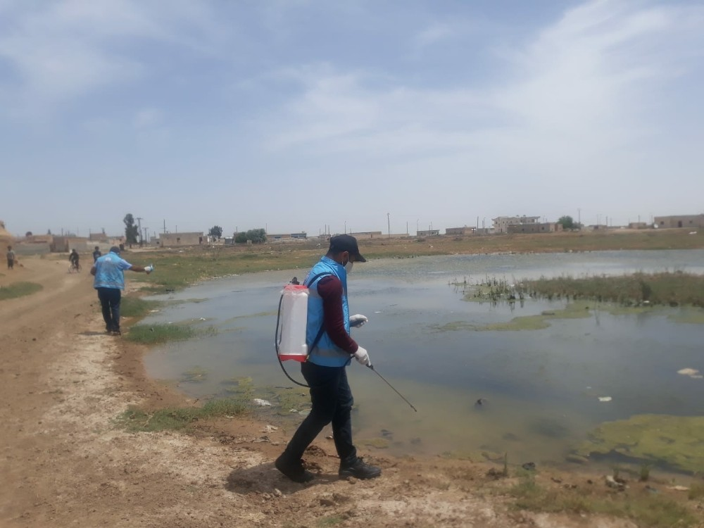 Barış Pınarı bölgesinde haşereyle mücadele sürüyor