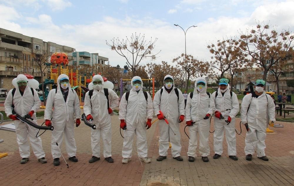 Eyyübiye'de dezenfekte seferberliği devam ediyor