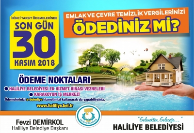 2018 Yılı Emlak Ve Çevre Temizlik Vergisi 2'nci Taksitinde Son Gün 30 Kasım