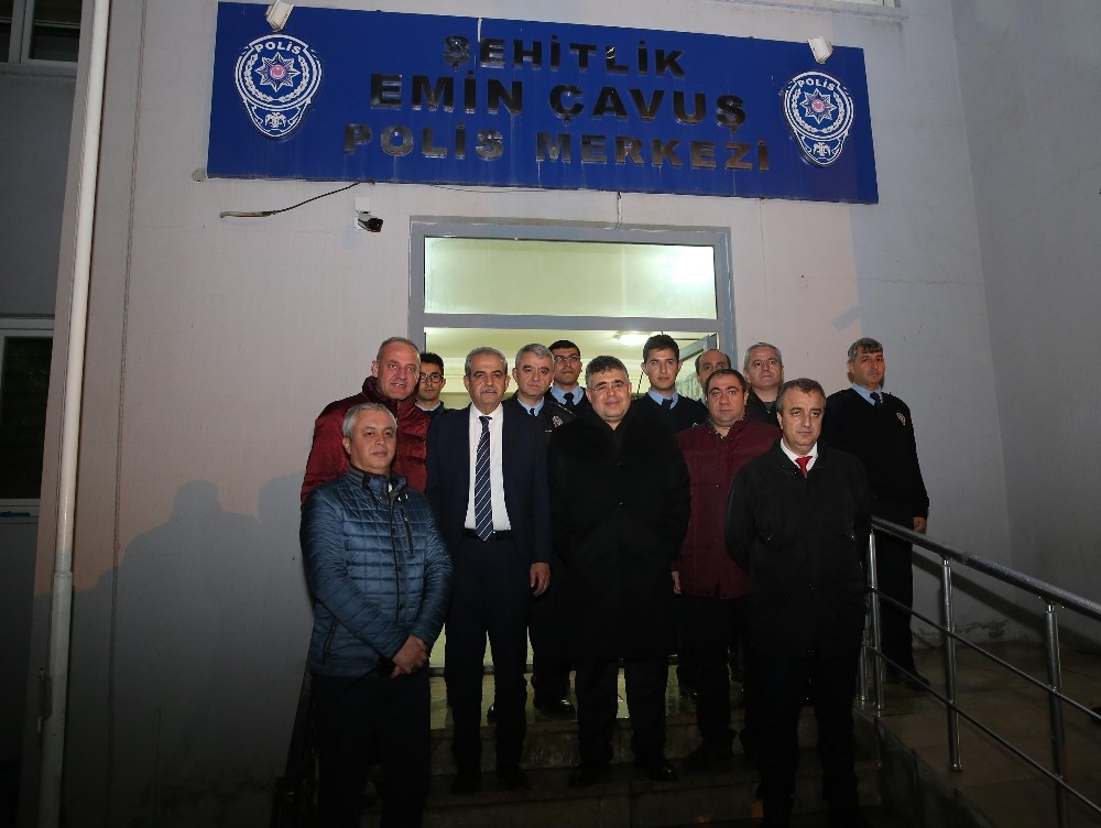 Emniyet Müdürü Tipioğlu, nöbet tutan polisleri ziyaret etti