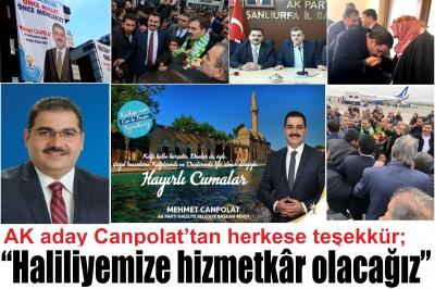 AK aday Canpolat'tan herkese teşekkür;