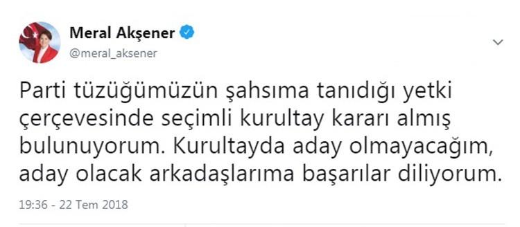 """İYİ Parti Genel Başkanı Akşener: """"Kurultayda aday olmayacağım"""""""