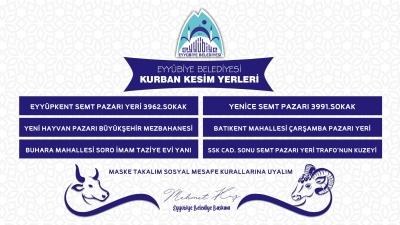 EYYÜBİYE'DE KURBAN SATIŞ VE KESİM YERLERİ BELİRLENDİ.