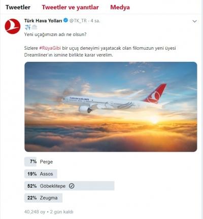 Vali Erin THY'nin Yeni Uçağının İsmi İçin Oy İstedi